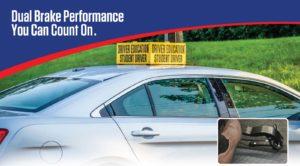 dual brake performance for drivers training